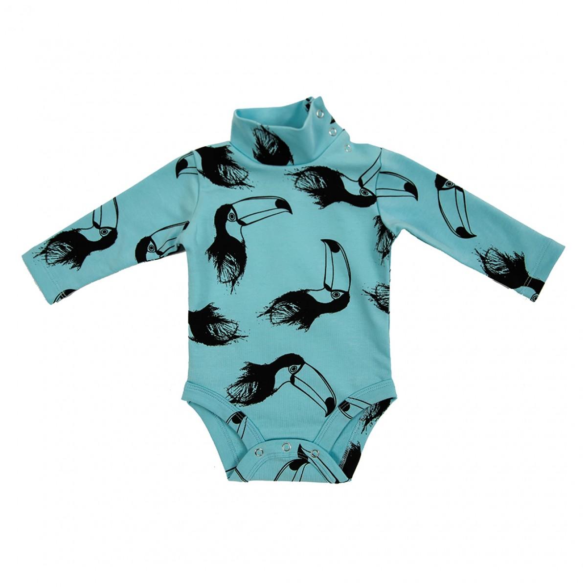 Боди-гольф голубой с туканами