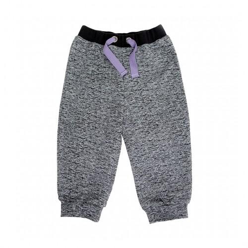 Серые меланжевые штаны с лиловым шнурком