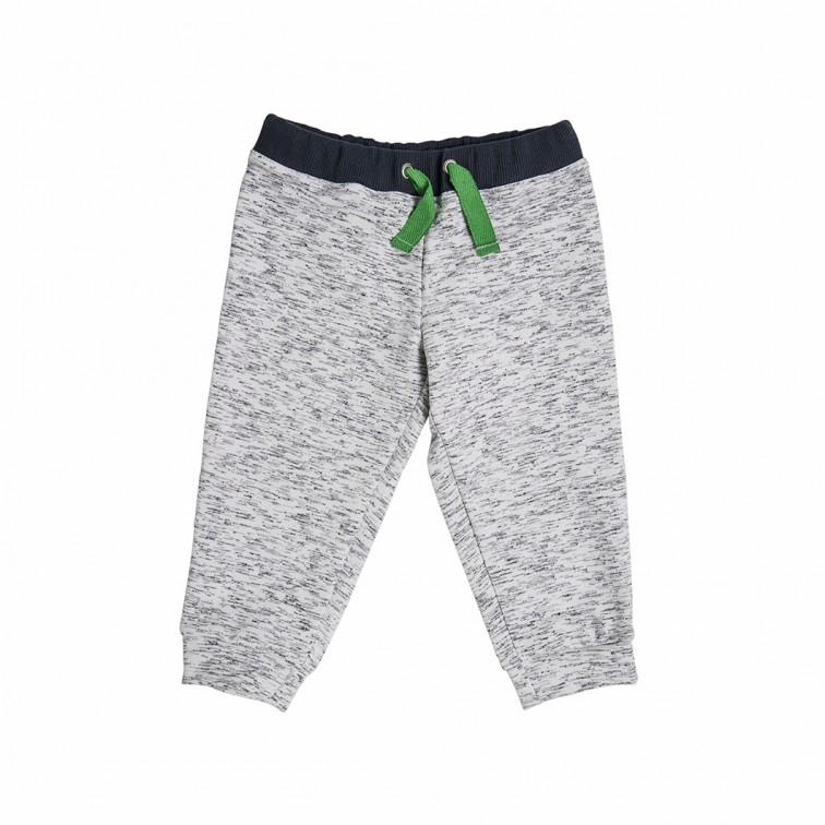 Меланжевые штанишки с зеленым шнурком